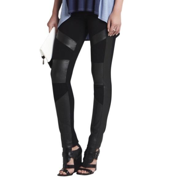 4802a5ba2d2726 BCBGMaxAzria Pants   Bcbg Max Azria Faux Leather Paneling Legging M ...